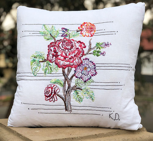 Vintage Rose Embroidery Cushion - kit