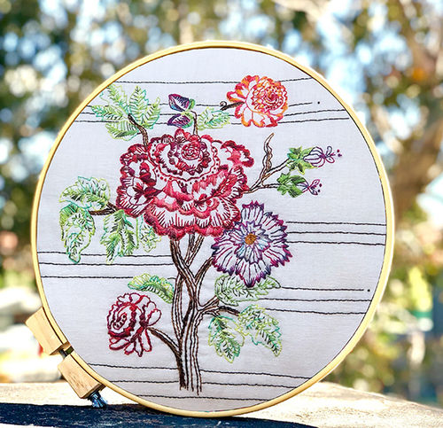 Vintage Rose Embroidery Panel