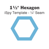 "1 ½"" Hexagon iSpy Template - ¼"" Seam"